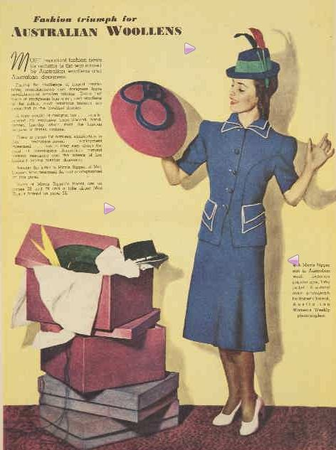 Fashion triumph for AUSTRALIAN WOOLLENS. (1941, March 29). The Australian Women's Weekly (1933 - 1982), p. 21 Section: Autumn Fashion Book. Retrieved February 27, 2013, from http://nla.gov.au/nla.news-article47483414