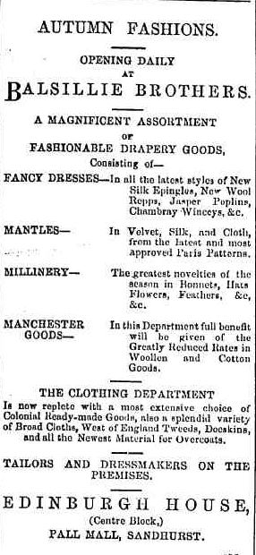 Advertising. (1868, April 9). Bendigo Advertiser (Vic. : 1855 - 1918), p. 1. Retrieved February 28, 2013, from http://nla.gov.au/nla.news-article87895148