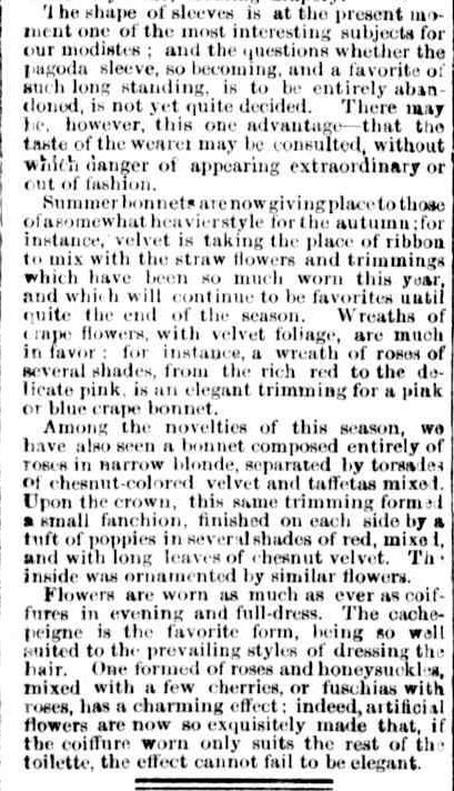 FASHIONS FOR OCTOBER. (1856, January 1). The Argus (Melbourne, Vic. : 1848 - 1956), p. 6. Retrieved February 24, 2013, from http://nla.gov.au/nla.news-article4827100