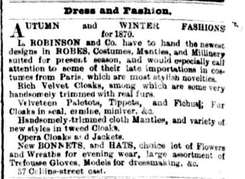 Advertising. (1870, April 23). The Argus (Melbourne, Vic. : 1848 - 1956), p. 8. Retrieved February 24, 2013, from http://nla.gov.au/nla.news-article5818692