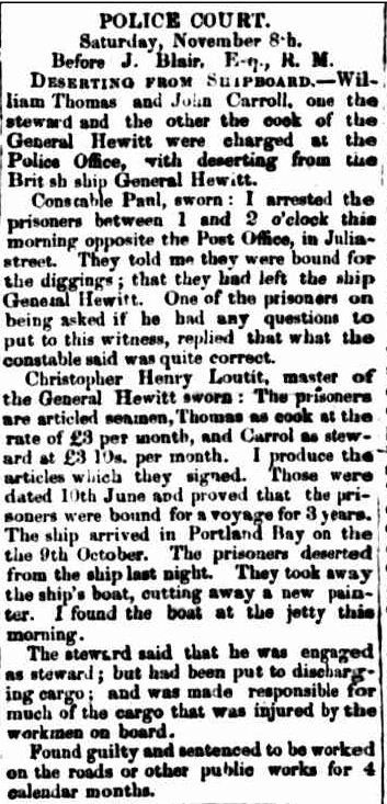POLICE COURT. (1856, November 10). Portland Guardian and Normanby General Advertiser (Vic. : 1842 - 1876), p. 2 Edition: EVENING.. Retrieved February 13, 2013, from http://nla.gov.au/nla.news-article64567197