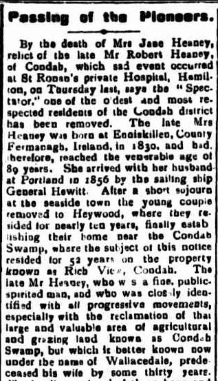 Passing of the Pioneers. (1920, February 5). Portland Guardian (Vic. : 1876 - 1953), p. 3 Edition: EVENING.. Retrieved February 26, 2013, from http://nla.gov.au/nla.news-article64020779