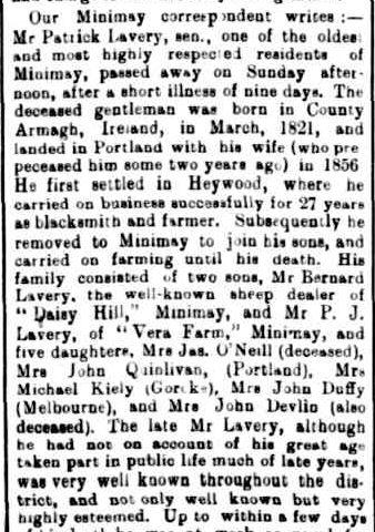 OBITUARY. (1905, November 24). The Horsham Times (Vic. : 1882 - 1954), p. 3. Retrieved February 27, 2013, from http://nla.gov.au/nla.news-article72818770
