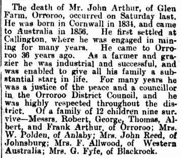 OBITUARY. (1912, August 3). Chronicle (Adelaide, SA : 1895 - 1954), p. 42. Retrieved February 27, 2013, from http://nla.gov.au/nla.news-article88699759