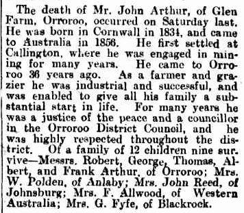 OBITUARY. (1912, August 3). Chronicle (Adelaide, SA : 1895 - 1954), p. 42. Retrieved February 27, 2013, from http://nla.gov.au/nla.news-article88699759