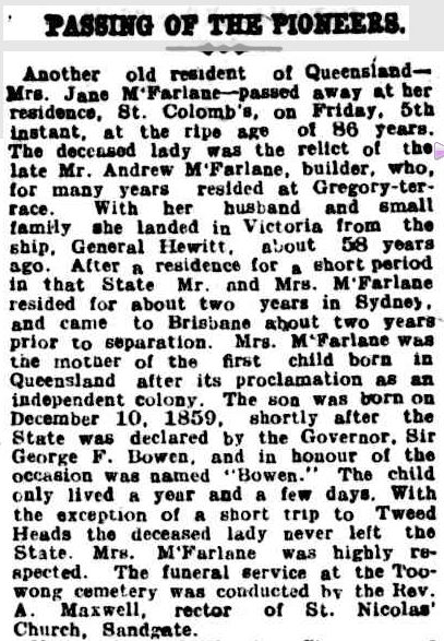 PASSING OF THE PIONEERS. (1913, December 20). The Queenslander (Brisbane, Qld. : 1866 - 1939), p. 238. Retrieved February 28, 2013, from http://nla.gov.au/nla.news-article22219423