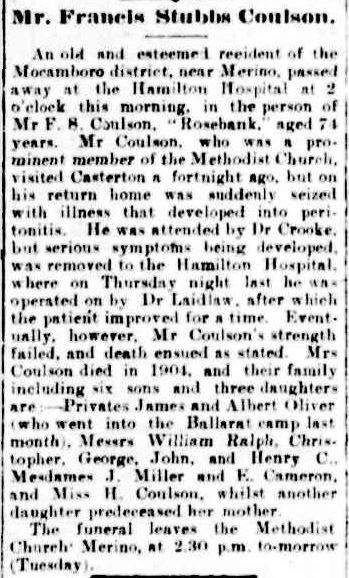Passed Away. (1916, April 10). The Casterton News and the Merino and Sandford Record (Vic. : 1914 - 1918), p. 3 Edition: Bi-Weekly. Retrieved February 28, 2013, from http://nla.gov.au/nla.news-article74485266