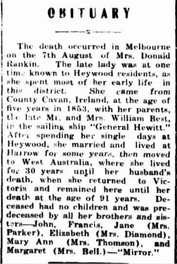 OBITUARY. (1941, August 25). Portland Guardian (Vic. : 1876 - 1953), p. 2 Edition: EVENING. Retrieved February 28, 2013, from http://nla.gov.au/nla.news-article64401403