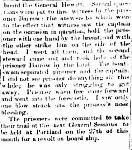 POLICE COURT. (1856, October 17). Portland Guardian and Normanby General Advertiser (Vic. : 1842 - 1876), p. 2 Edition: EVENING.. Retrieved February 13, 2013, from http://nla.gov.au/nla.news-article64567053