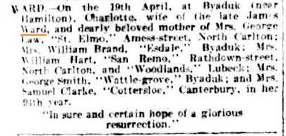 Family Notices. (1904, April 20). The Argus (Melbourne, Vic. : 1848 - 1956), p. 1. Retrieved March 13, 2013, from http://nla.gov.au/nla.news-article10315347