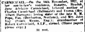 Family Notices. (1917, November 20). The Argus (Melbourne, Vic. : 1848 - 1956), p. 1. Retrieved March 13, 2013, from http://nla.gov.au/nla.news-article1664422
