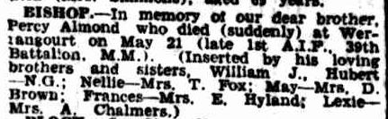 Family Notices. (1946, May 31). The Argus (Melbourne, Vic. : 1848 - 1956), p. 2. Retrieved March 14, 2013, from http://nla.gov.au/nla.news-article22250486