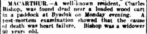 COUNTRY NEWS. (1916, August 28). The Argus (Melbourne, Vic. : 1848 - 1956), p. 9. Retrieved March 17, 2013, from http://nla.gov.au/nla.news-article1598956
