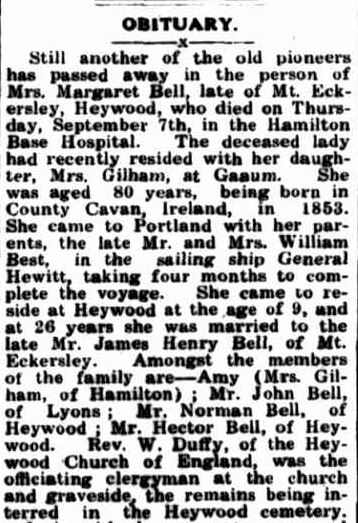 OBITUARY. (1933, September 18). Portland Guardian (Vic. : 1876 - 1953), p. 3 Edition: EVENING.. Retrieved March 6, 2013, from http://nla.gov.au/nla.news-article64283449
