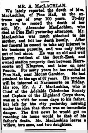 MR. A. MACLACHLAN. (1900, June 27). Border Watch (Mount Gambier, SA : 1861 - 1954), p. 2. Retrieved March 6, 2013, from http://nla.gov.au/nla.news-article81040451