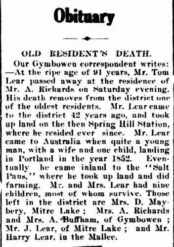 Obituary. (1919, February 18). The Horsham Times (Vic. : 1882 - 1954), p. 5. Retrieved March 8, 2013, from http://nla.gov.au/nla.news-article72993062