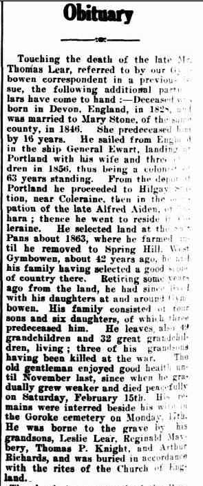 Obituary. (1919, February 21). The Horsham Times (Vic. : 1882 - 1954), p. 4. Retrieved March 9, 2013, from http://nla.gov.au/nla.news-article72993152