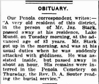 OBITUARY. (1917, April 28). Border Watch (Mount Gambier, SA : 1861 - 1954), p. 5. Retrieved March 10, 2013, from http://nla.gov.au/nla.news-article77664546