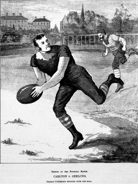 GEORGE COULTHARD, CARLTON FOOTBALL CLUB - Image Courtesy of the State Library of Victoria - Wood engraving published in Australian pictorial weekly, no. 7, Melbourne, July 24, 1880, held in Rare Books Collection. http://handle.slv.vic.gov.au/10381/104291