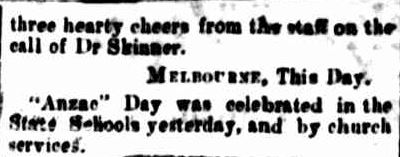 """Anzac Day."". (1917, April 26). The Casterton News and the Merino and Sandford Record (Vic. : 1914 - 1918), p. 3 Edition: Bi-Weekly. Retrieved April 23, 2013, from http://nla.gov.au/nla.news-article74489110"
