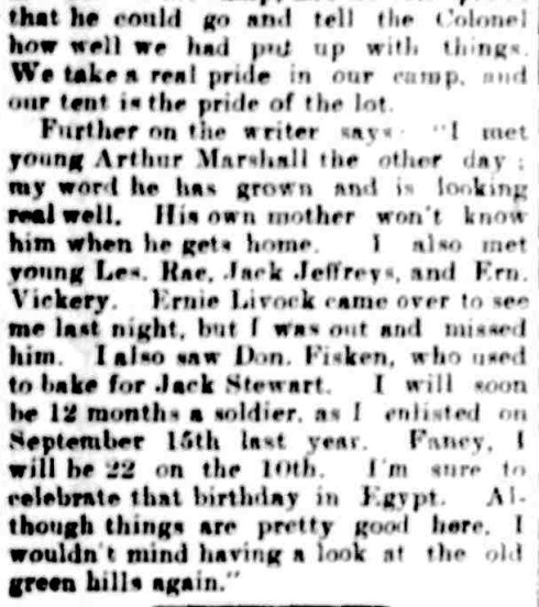 Our Soldiers. (1915, September 16). The Casterton News and the Merino and Sandford Record (Vic. : 1914 - 1918), p. 4 Edition: Bi-Weekly. Retrieved April 23, 2013, from http://nla.gov.au/nla.news-article74766366