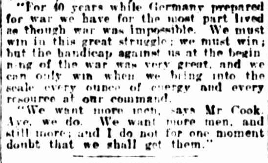 """WE WANT MORE MEN"". (1915, January 22). The Ballarat Courier (Vic. : 1914 - 1918), p. 3 Edition: DAILY.. Retrieved April 23, 2013, from http://nla.gov.au/nla.news-article73915492"