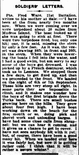 SOLDIERS' LETTERS. (1915, December 24). Gippsland Mercury (Sale, Vic. : 1914 - 1918), p. 3 Edition: morning. Retrieved April 23, 2013, from http://nla.gov.au/nla.news-article89277160
