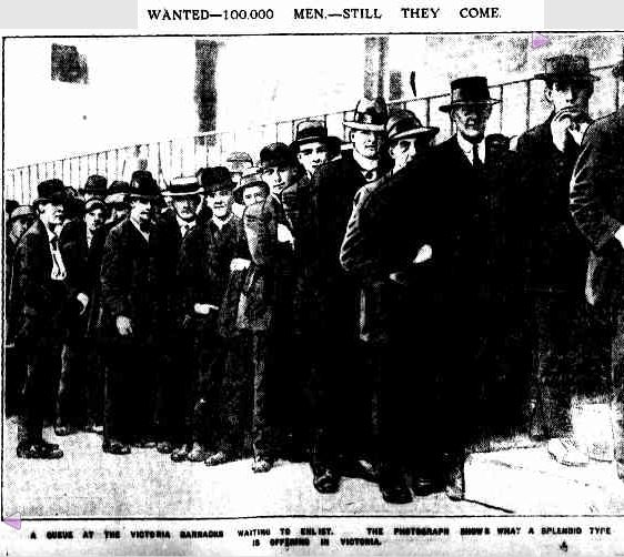 WANTED—100,000 MEN.—STILL THEY COME. (1915, January 6). The Argus (Melbourne, Vic. : 1848 - 1956), p. 7. Retrieved April 20, 2013, from http://nla.gov.au/nla.news-article1488026