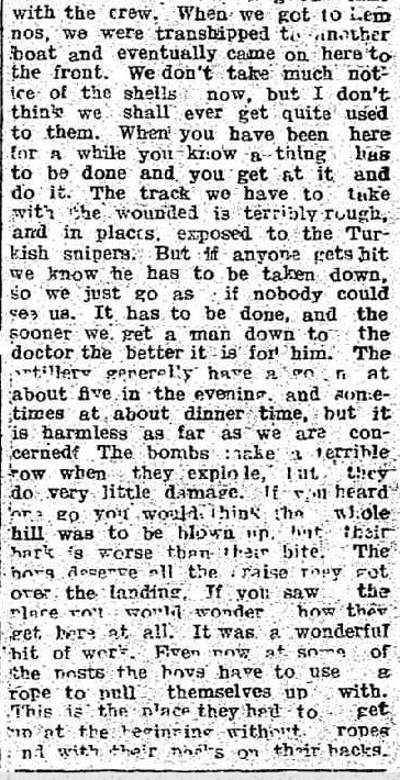Our Boys at Gallipoli. (1915, December 14). Port Pirie Recorder and North Western Mail (SA : 1898 - 1918), p. 1. Retrieved April 23, 2013, from http://nla.gov.au/nla.news-article95346962