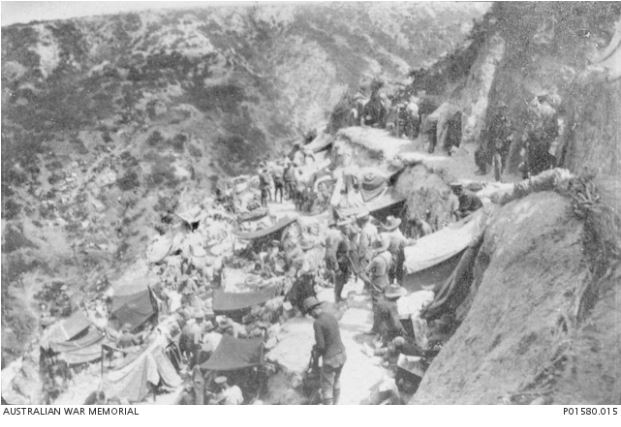 STEELES POST, GALLIPOLI 1915.  Image courtesy of the Australian War Memorial ID No:  P01580.015 http://www.awm.gov.au/collection/P01580.015