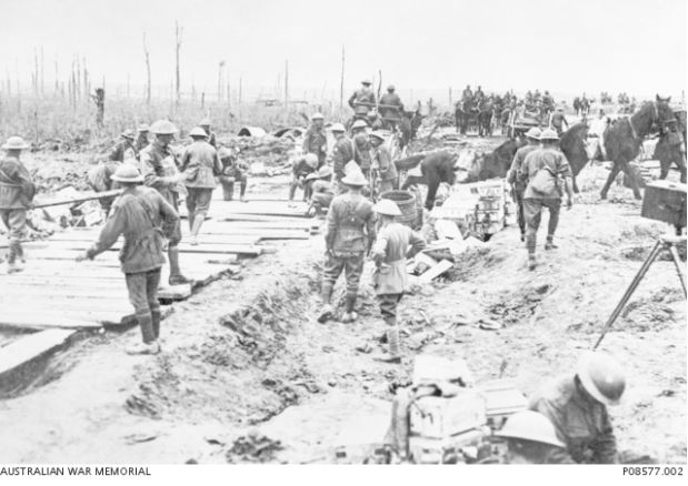 2nd Pioneer building plank road at Chateau Wood, Ypres, Sept 26, 1917 Image courtesy of the Australian War Memorial ID NOl P08577.002  http://www.awm.gov.au/collection/P08577.002