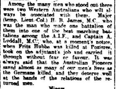 ENGINEERS, PIONEERS, AND TUNNELLERS. (1919, July 21). The West Australian (Perth, WA : 1879 - 1954), p. 9. Retrieved April 24, 2013, from http://nla.gov.au/nla.news-article27611735