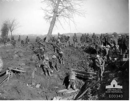 2nd Pioneer Battalion near Bapaume.  Image courtesy of the Australian War Memorial ID No:  E00343 http://www.awm.gov.au/collection/E00343/