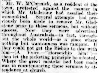 THE REV. GEORGE GLADSTONE. (1899, June 21). The Argus (Melbourne, Vic. : 1848 - 1956), p. 8. Retrieved April 2, 2013, from http://nla.gov.au/nla.news-article9516823