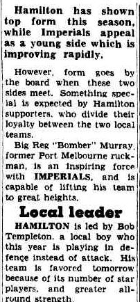 TRADITIONAL RIVALS FIGHT IT OUT. (1955, May 13). The Argus (Melbourne, Vic. : 1848 - 1956), p. 22. Retrieved April 9, 2013, from http://nla.gov.au/nla.news-article71882081