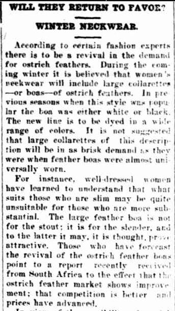 OSTRICH FEATHER BOAS. (1926, October 26). The Horsham Times (Vic. : 1882 - 1954), p. 6. Retrieved May 31, 2013, from http://nla.gov.au/nla.news-article73016017