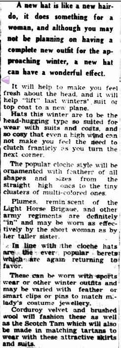 NEW WINTER HAT STYLES. (1950, April 7). The Horsham Times (Vic. : 1882 - 1954), p. 8. Retrieved May 31, 2013, from http://nla.gov.au/nla.news-article72801141