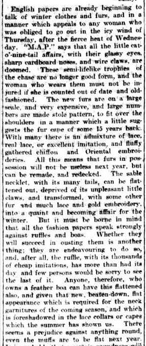 WOMAN'S REALM. (1902, November 15). The Argus (Melbourne, Vic. : 1848 - 1957), p. 5. Retrieved May 30, 2013, from http://nla.gov.au/nla.news-article9076147