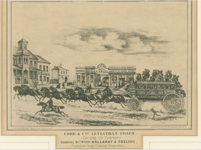 COBB & CO COACH WITH 89 PASSENGERS. Image courtesy of the State Library of Victoria Image No. H4051 http://handle.slv.vic.gov.au/10381/72175