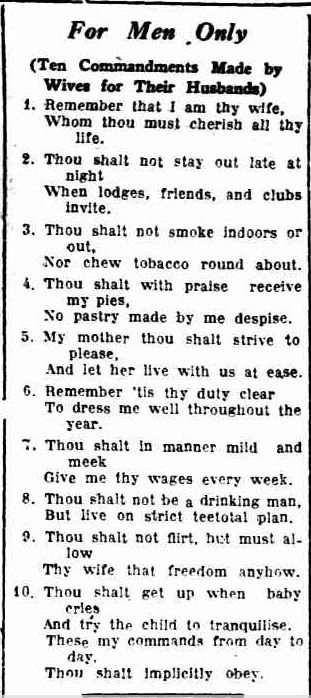 For Men Only. (1935, February 9). Recorder (Port Pirie, SA : 1919 - 1954), p. 4. Retrieved May 6, 2013, from http://nla.gov.au/nla.news-article100816903