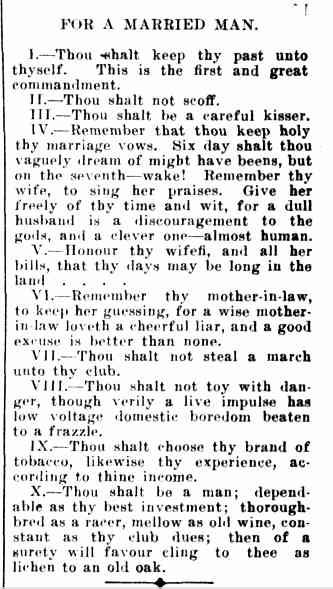 NEW COMMANDMENTS. (1914, February 13). Forbes Times (NSW : 1912 - 1920), p. 7. Retrieved May 6, 2013, from http://nla.gov.au/nla.news-article100263189 MLA citation