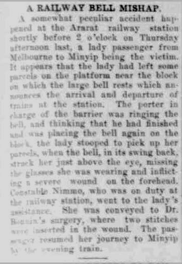 A RAILWAY BELL MISHAP. (1922, November 21). The Horsham Times (Vic. : 1882 - 1954), p. 5. Retrieved May 8, 2013, from http://nla.gov.au/nla.news-article72741866