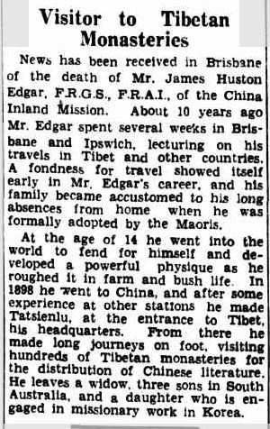 MR. J. H. EDGAR DEAD. (1936, April 6). The Courier-Mail (Brisbane, Qld. : 1933 - 1954), p. 14. Retrieved May 26, 2013, from http://nla.gov.au/nla.news-article36803018