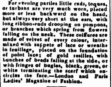 FASHIONS FOR JULY IN PORT PHILLIP, OR JANUARY IN ENGLAND. (1845, June 11). Geelong Advertiser and Squatters' Advocate (Vic. : 1845 - 1847), p. 5. Retrieved May 22, 2013, from http://nla.gov.au/nla.news-article91122789