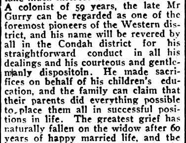 OBITUARY. (1917, May 28). Port Fairy Gazette (Vic. : 1914 - 1918), p. 2 Edition: EVENING. Retrieved May 23, 2013, from http://nla.gov.au/nla.news-article88021627