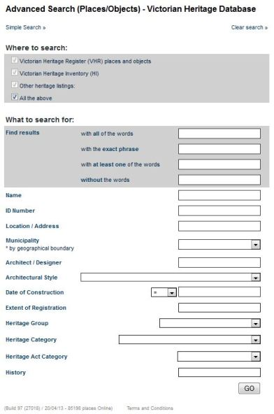 VHD Advanced Search form http://vhd.heritage.vic.gov.au/#advanced;user