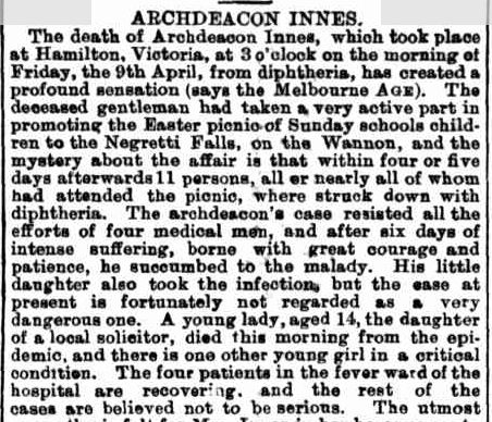 Obituary. ARCHDEACON INNES. (1880, April 17). Australian Town and Country Journal (NSW : 1870 - 1907), p. 17. Retrieved June 11, 2013, from http://nla.gov.au/nla.news-article70943080