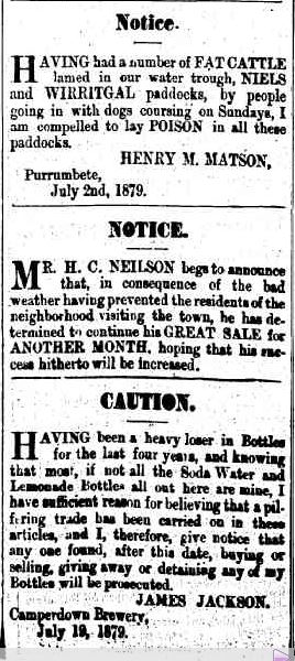 Advertising. (1879, July 25). Camperdown Chronicle (Vic. : 1877 - 1954), p. 3. Retrieved June 2, 2013, from http://nla.gov.au/nla.news-article29098359