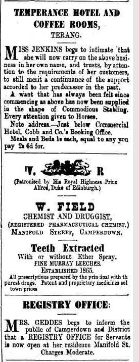 Advertising. (1879, July 25). Camperdown Chronicle (Vic. : 1877 - 1954), p. 3. Retrieved June 3, 2013, from http://nla.gov.au/nla.news-article29098359