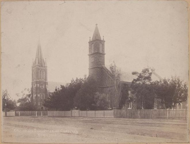 ST ANDREWS PRESBYTERIAN CHURCH & HAMILTON ANGLICAN CHURCH c1890 Image Courtesy of the State Library of Victoria. Image no. H11827 http://handle.slv.vic.gov.au/10381/69513